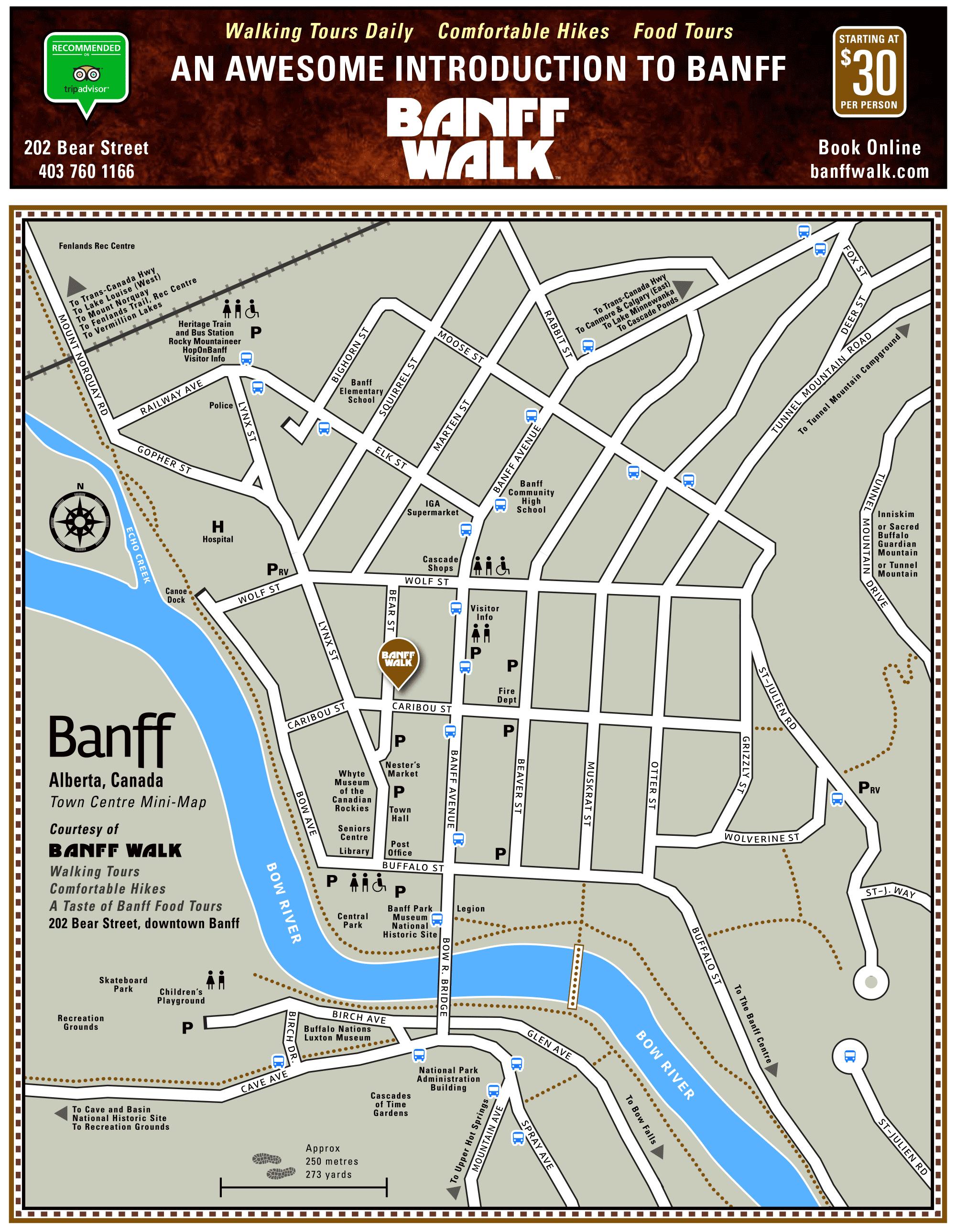 Map Of Downtown Banff Alberta Banff Walk
