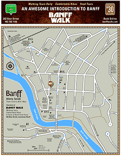 Map of Downtown Banff, Alberta > Banff Walk